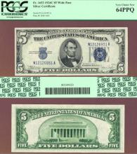 1934-C $5 FR-1653 Small US Silver Certificate Very Choice New 64 PPQ