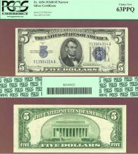 1934-D $5 FR-1654 Small US Silver Certificate PCGS Choice New 63 PPQ