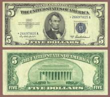 1953-A $5  FR-1656* US Silver Certificate Star Note