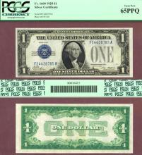 1928 $1 FR-1600 GEM-65PPQ US small silver certificate blue seal