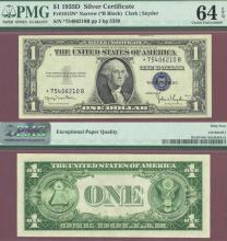 """1935-D $1 """"STAR"""" FR-1613N* US small size silver certificate blue seal"""
