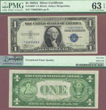 """1935-A $1 """"STAR"""" FR-1608* US small size silver certifcate star note blue seal"""
