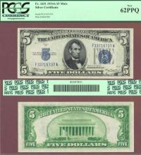 1934-C $5 FR-1651 Mule US small size silver certificate PCGS 62 PPQ