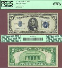 1934-C $5 FR-1651 Mule US small size silver certificate PCGS 53 PPQ