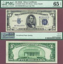 1934-C $5 FR-1653W Small US Silver Certificate PMG Gem Uncirculated 65 EPQ