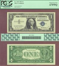 1957 $1 FR-1619 67PPQ US small silver certificate blue seal