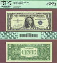 1957 $1 FR-1619* *STAR* PCGS Gem New 65 PPQ US small size silver certificate