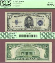 """1934-B $5 FR-1652* """"STAR"""" US small size silver certificate blue seal"""