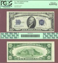 1934-D $10 FR-1705 PCGS 63 PPQ US small size silver certificate
