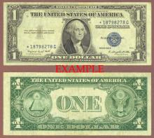"1935-G $1 FR-1616* No Motto ""STAR"" US small size silver certificate blue seal"