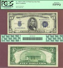 "1934-C $5 ""STAR"" FR-1653* US small size silver certificate PCGS About New 53 PPQ"