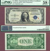 "1935-A $1 ""S"" Experimental Note FR-1610 US small size silver certificate PMG Choice About Uncirculated 58 EPQ"