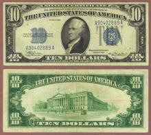 1934 $10 FR-1701 US small size silver certificate blue seal
