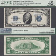 "1934 $10 FR-1701m ""Mule"" US small size silver certificate PMG Choice Extremely Fine 45 EPQ"