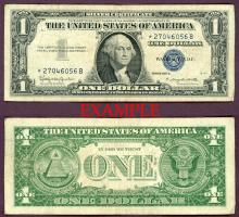 1957-B $1 *STAR* FR-1621* US small size silver certificate blue seal