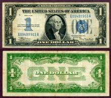 1934 $1 FR-1606 US small size silver certificate blue seal funny back