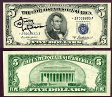 """1953-A $5 """"STAR"""" FR-1656* Tony La Russa Autograph"""