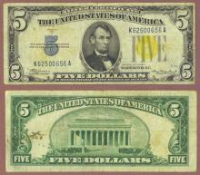 1934-A $5.00 FR-2307 North Africa US Emergency Issue silver certificate