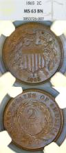 1865 2c US two cent piece NGC MS63 BN