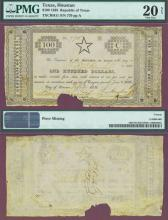 """1838 Republic of Texas - $100 CR-H11 """"STAR NOTE"""" Collectable Republic of Texas paper money PMG Very Fine 20"""
