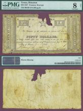 """$50 CR-H7B """"STAR NOTE"""" Collectable Republic of Texas paper money PMG VG 8"""