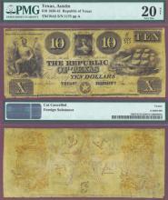Republic of Texas - $10.00 A5 PMG Very Fine 20