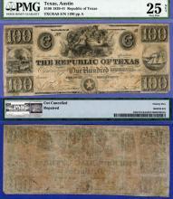 Republic of Texas - $100.00 A8 paper money