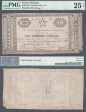 """1838 Republic of Texas - $100 CR-H11 """"STAR NOTE"""" Collectable Republic of Texas paper money PMG Very Fine 25"""