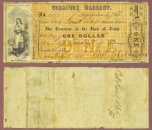 Texas $1.00 CR-1 Texas civil war warrant
