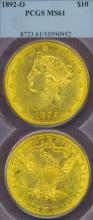 1892-O $10.00 US gold eagle New Orleans Mint gold coin PCGS MS 61