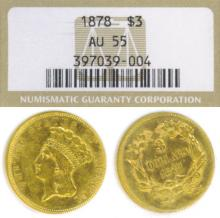 1878 $3.00 US $3.00 gold coin NGC About Uncirculated 55