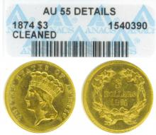 1874 $3.00 US $3.00 gold ANACS About Uncirculated 55