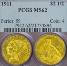 1911 $2.50 Indian us quarter eagle gold coin PCGS MS-62