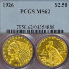 1926 $2.50 Indian US quarter eagle gold coin PCGS MS-62