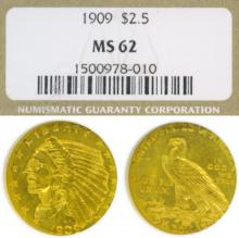 1909 $2.50 Indian US quarter eagle goold coin NGC MS-62