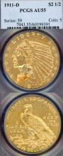 1911-D $2.50 US Indian Quarter Eagle gold coin Key Date PCGS AU 55