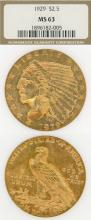 1929 $2.50 Indian US Quarter eagle gold coin NGC MS 63