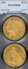 1913 $2.50 Indian US collectable gold coins PCGS MS 62