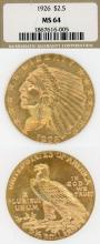 1926 $2.50 Indian US collectable golsd coins NGC MS 64