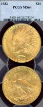 1932 $10.00 US $10 Indian gold eagle PCGS MS 64