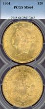 1904 $20.00 US gold double eagle Liberty PCGS MS 64