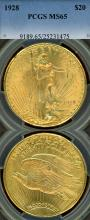 1928 $20.00 US gold double eagle Saint PCGS MS 65