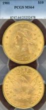 1901 $10.00 US gold eagle PCGS MS 64