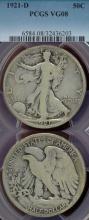 1921-D 50c Key Date Walking Liberty Half Dollar