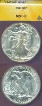 1942 50c US walking Liberty silver half dollar
