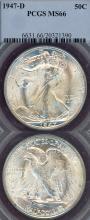 1947-D 50c MS-66 US walking liberty silver half dollar