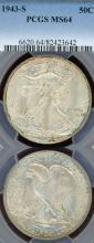 1943-S 50c US walking liberty silver half dollar PCGS MS 64