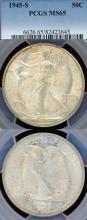 1945-S 50c US walking liberty silver half dollar PCGS MS 65