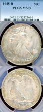 1945-D 50c US Walking liberty silver half dollar PCGS MS 65