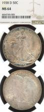 1938-D 50c US liberty walking silver half dollar NGC MS-64